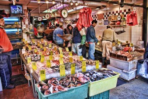 Le Mouching, fly fishing, fish market